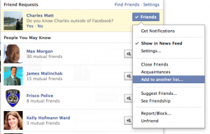 how to get list of friend requests sent on facebook